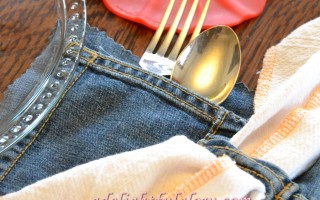Jean Pocket Silverware Holders